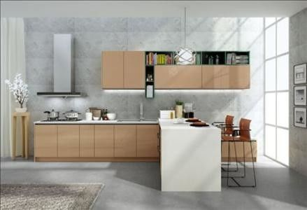 No Ratten Laminated Particle Board Cabinets , Wooden Modern Kitchen Wardrobe